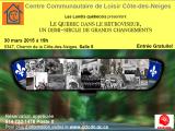 Invitation au Lundi Québecois du 30 mars 2015. «Le Québec dans le rétroviseur, un demi-siècle de grandschangements»