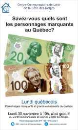 Invitation au Lundi québécois du 30 novembre 2015 «Personnages marquants et grands événements duQuébec»