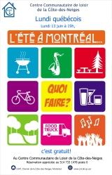 Invitation au Lundi québécois du 13 juin 2016 «L'été à Montréal»
